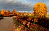 foto of gory  - Autumn view of Trigorskoye village - JPG