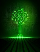 picture of circuit  - Green futuristic circuit board tree - JPG