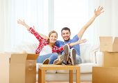 moving, home and couple concept - smiling couple relaxing on sofa in new home poster
