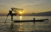 Fisherman Silhouette At Sunset, Inle Lake, Myanmar (burma)