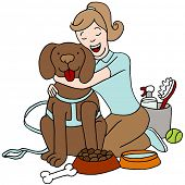 stock photo of dog-walker  - An image of a female taking care of a dog - JPG