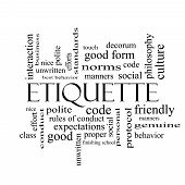 image of polite  - Etiquette Word Cloud Concept in black and white with great terms such as manners polite social and more - JPG