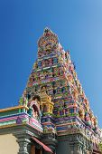 stock photo of vinayagar  - Colorful facade of a Hindu temple in Victoria Mahe Seychelles also known as ARUL MIHU NAVASAKTHI VINAYAGAR - JPG