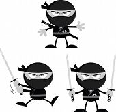 picture of chibi  - Angry Ninja Warrior  Cartoon Mascot Characters 1 Flat Design In Gray Color  Collection Set - JPG