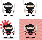 stock photo of chibi  - Angry Ninja Warrior  Cartoon Characters 3 Flat Design  Collection Set - JPG