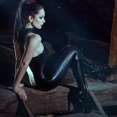 stock photo of domina  - Sexy young woman sit on timber at night - JPG