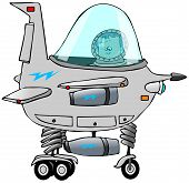pic of starship  - This illustration depicts a boy in the cockpit of a cartoon starship - JPG