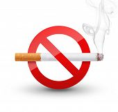 picture of tobacco smoke  - No Smoking Sign isolated on white background - JPG
