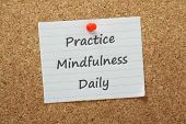 picture of  practices  - he phrase Practice Mindfulness Daily on a piece of paper pinned to a cork notice board - JPG