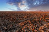 foto of plowed field  - plowed field at a sunset with clouds - JPG
