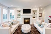 stock photo of mansion  - Beautiful Living Room in New Luxury Home - JPG