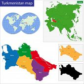 picture of turkmenistan  - Map of administrative divisions of Turkmenistan - JPG