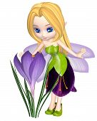picture of faerie  - Cute toon purple crocus fairy in leaf and petal dress looking at a spring crocus flower - JPG