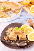 stock photo of baklava  - Traditional Turkish baklava stuffed with walnuts - JPG