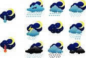 Set of night weather icons poster