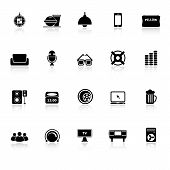 pic of home theater  - Home theater icons with reflect on white background stock vector - JPG