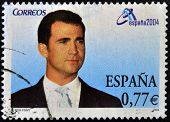 SPAIN - CIRCA 2004: A stamp printed in Spain shows the Prince of Asturias Felipe de Borbon