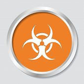 pic of biohazard symbol  - White vector biohazard symbol on orange button - JPG