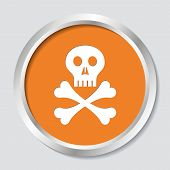 stock photo of skull cross bones  - White skull with crossed bones on orange button - JPG