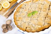 stock photo of baklava  - Sweet baklava stuffed with walnuts - JPG