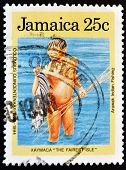 JAMAICA - CIRCA 1994: A stamp printed in Jamaica shows arawak indian fishing circa 1994