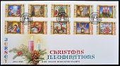 JERSEY - CIRCA 2004: A stamp printed in Jersey shows different images of Christmas serie circa 2004