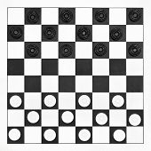 pic of draught-board  - Starting position on 8 x 8 draughts board - JPG