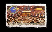 MALTA - CIRCA 1999: A stamp printed in Malta showing the interior of the European Parliament