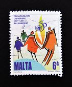 stamp printed in Malta commemorating to Declaration of Human Rights