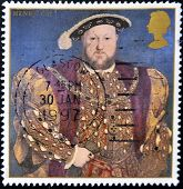 UNITED KINGDOM - CIRCA 1997: A stamp printed in Great Britain shows king Henry VIII