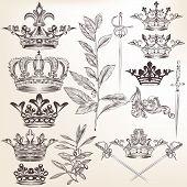 image of queen crown  - Vector set of crowns for your heraldic design - JPG