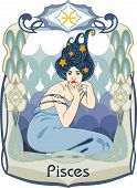 picture of pisces  - Blue haired and dressed woman represents the pisces horoscope sign - JPG