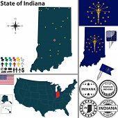 image of south american flag  - Vector set of Indiana state with flag and icons on white background - JPG
