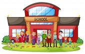 stock photo of mother law  - Illustration of a big family in front of the school building on a white background - JPG
