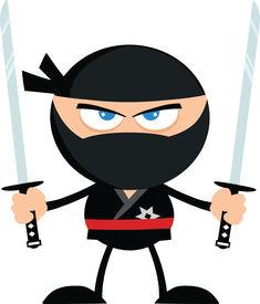 stock photo of chibi  - Angry Ninja Warrior With Two Katana Flat Design  Illustration Isolated on white - JPG