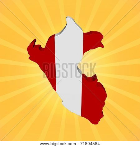 Peru map flag on sunburst illustration