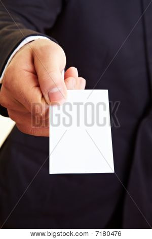 Hand Offering Empty Business Card