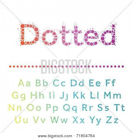 Vector dotted font. Bright modern multicircles type.