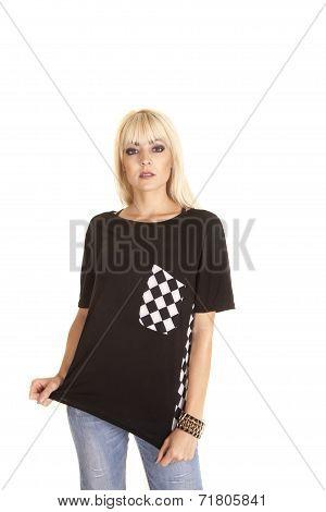 Pull Down Checker Black White