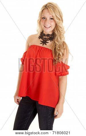 Woman Red Shirt Jeans Cloker