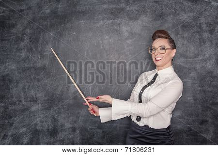 Smiling Teacher With Pointer