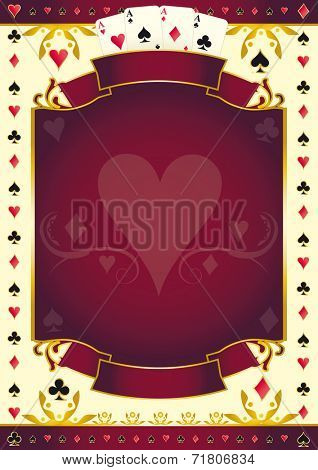 Poker game heart red background. A red background for your Poker Tour with a heart shape. Write your message on the empty frame.
