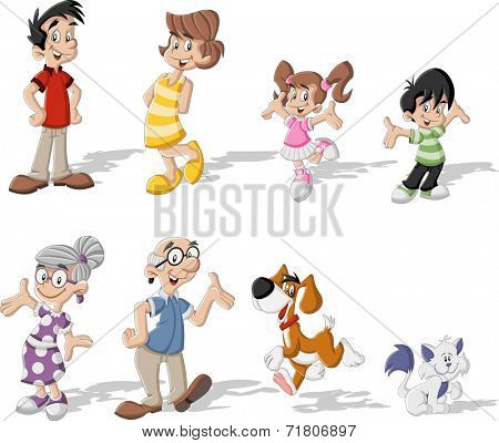 Colorful cute happy cartoon family with pets