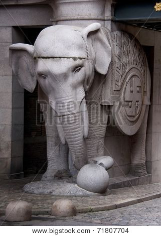 Elephant Statue Of Monumental Gate At Carlsberg Brewery.