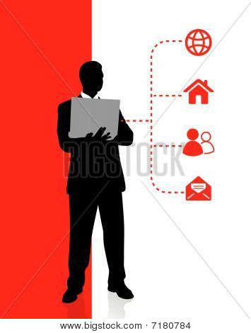 Businessman Holding Computer Laptop With Internet Icons