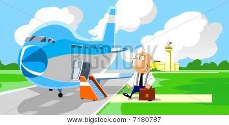 businessman entering in the airplane