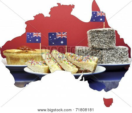Map Of Australia Showing Traditional Aussie Tucker Party Food, Lamingtons, Fairy Bread And Meat Pies