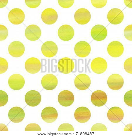 Green And Yellow Watercolor Seamless Texture With Polka Dots