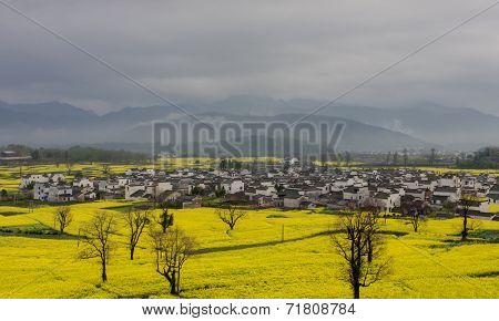 beautiful Chinese rural landscape under cloudy sky