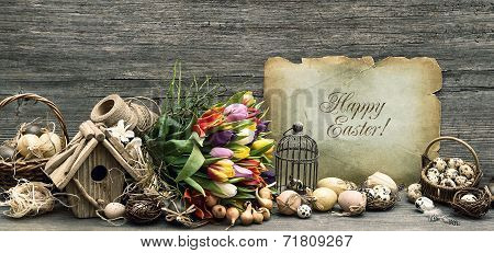 Nostalgic Easter Decoration With Eggs And Tulip Flowers